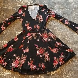 Long Sleeve Red, Pink, & White Floral Dress